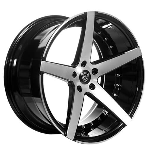 """20"""" Staggered MQ Wheels 3226 Black W Brush Face Extreme Concave Rims"""