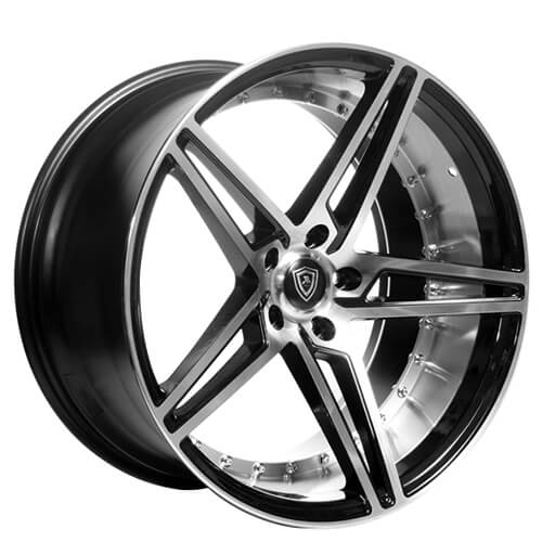 "20"" Staggered MQ Wheels 3258 Black W Polish Inner Deep Concave"