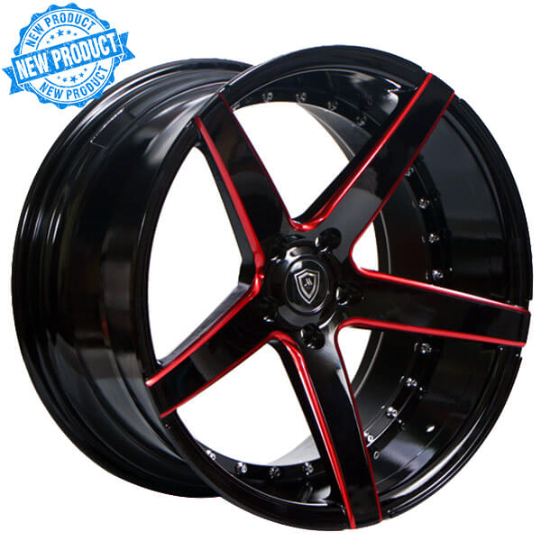 20 Quot Staggered Marquee Wheels 3226 Gloss Black With Red