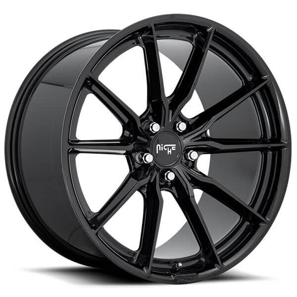 """Niche Road Wheels >> 20"""" Niche Wheels M240 Rainier Gloss Black Rims #NC101-4"""