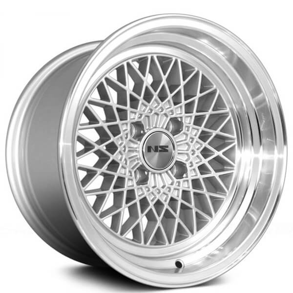 """15"""" NS Wheels Drift MDV2 Silver with Polished Lip Rims"""