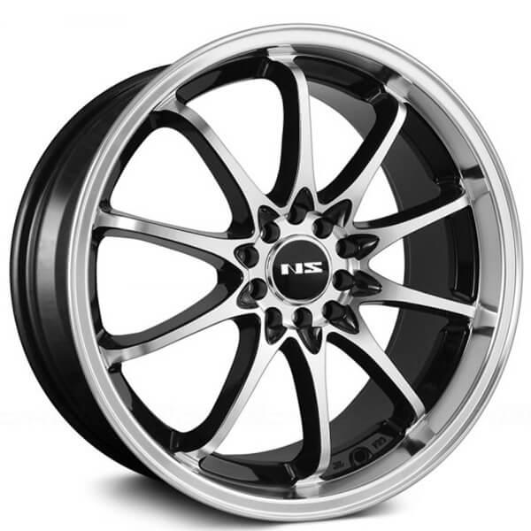 "18"" NS Wheels Tunner NS1403 Black Machined Face and Lip Rims"