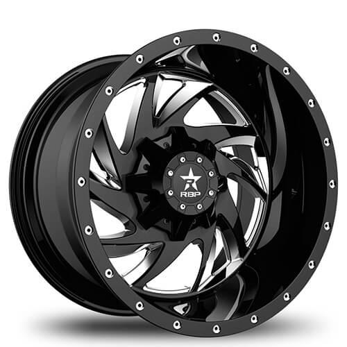 "20"" RBP Wheels HK-5 Gloss Black Milled Rims *Free Shipping"