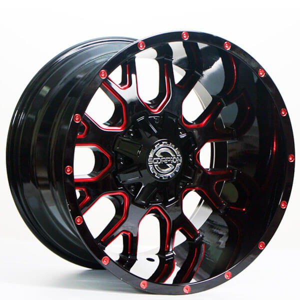 """20"""" Scorpion Wheels SC-19 Black with Red Milled Rims"""