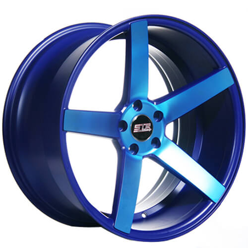 20 Quot Staggered Str Wheels 607 Neon Blue Rims Str022 4