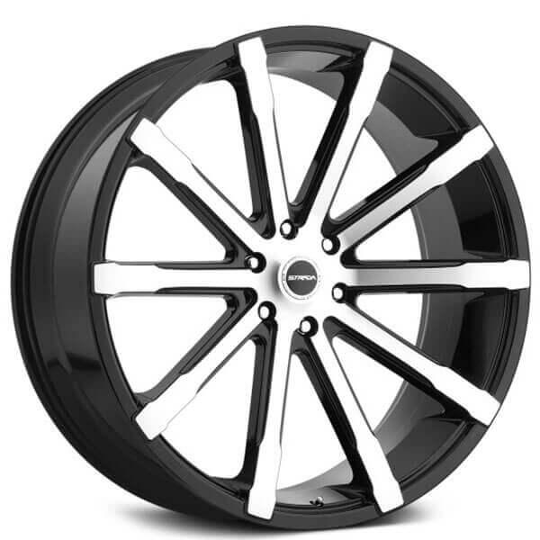 24 Strada Wheels Osso Gloss Black Machined Rims Std057 1