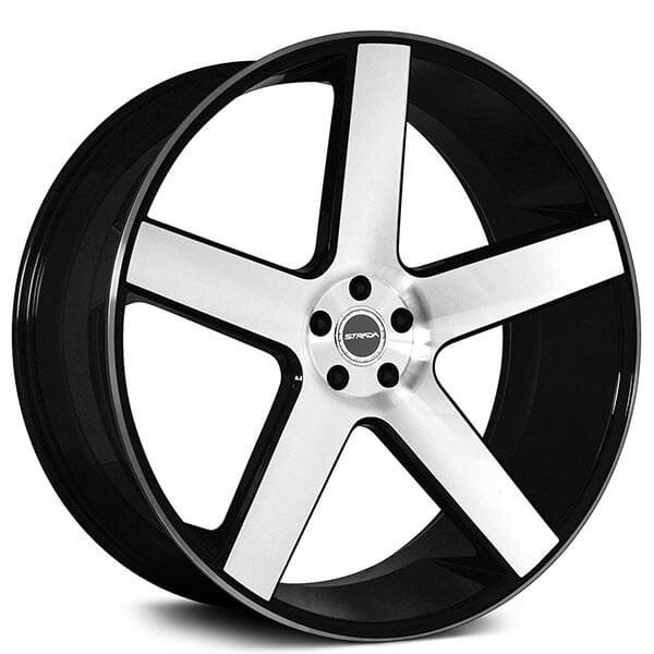 "26"" Strada Wheels Perfetto Black Machined Rims #STD035-8"