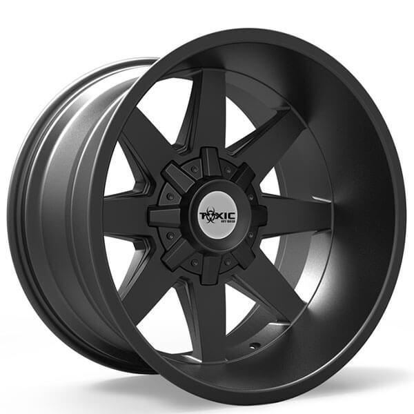 toxic  road wheels widow satin black rims tox