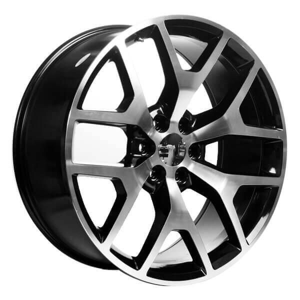 """Jeep Lift Kits >> 22"""" GMC Sierra Wheels 288 Black Machined OEM Replica Rims #VC021-1"""