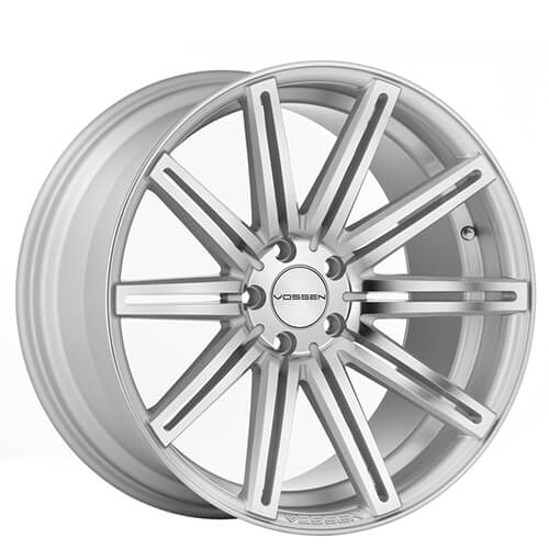 "22"" Staggered Vossen Wheels CV4 Silver Polished Rims (5x120, ET +15mm/20mm)"