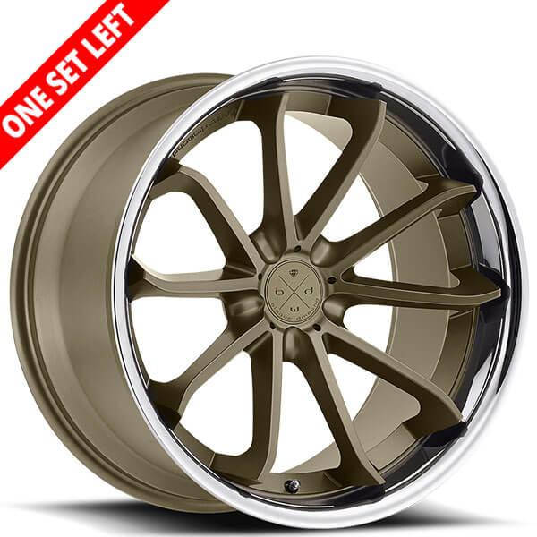 "22"" Staggered Blaque Diamond Wheels BD-23 Matte Bronze with Chrome SS Lip Rims (5x112 / 5x120, ET+30/35mm)"