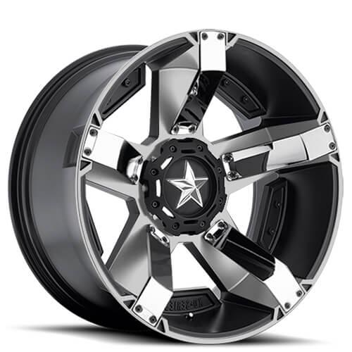 "17"" 18"" 20"" 22"" XD Wheels XD811 Rockstar II Black Machined W/ Chrome Rims"