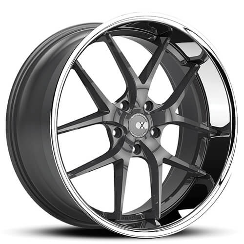 """20"""" 22"""" XO Wheels X140 Athens Gun Metal W/ SS Lip Rims *Staggered"""
