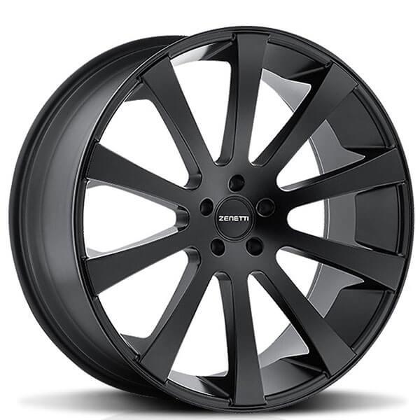 "24"" Zenetti Wheels Aspen Satin Black Rims"
