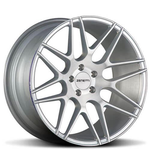 """20"""" Staggered Zenetti Wheels Milan Silver Brushed Rims"""