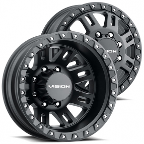 "17"" Vision Wheels 408 Manx 2 Dually Satin Black Off-Road Rims"