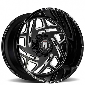 """20"""" American Truxx Wheels AT-1904 Cosmos Matte Black Milled Off-Road Rims"""