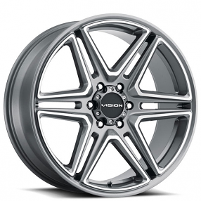 """20"""" Vision Wheels 476 Wedge Gunmetal with Machined Face Rims"""