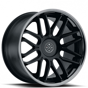 "22"" Staggered Blaque Diamond Wheels BD-27 Satin Black with Black Chrome Lip Rims"