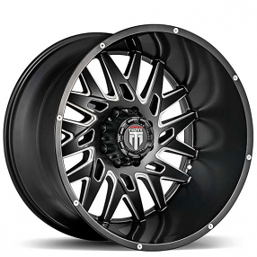 """24"""" American Truxx Wheels AT-184 DNA Matte Black Milled Off-Road Rims"""
