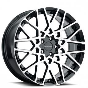 "18"" Vision Wheels 474 Recoil Gloss Black Machined Rims"