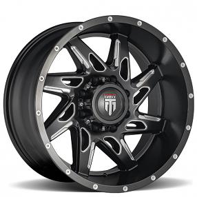 "20"" American Truxx Wheels AT-183 Spyder Matte Black Milled Off-Road Rims"