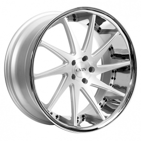 "20"" Staggered Azad Wheels AZ23 Silver Machined with Chrome Lip Rims"