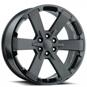 "24"" Wheels 2018 Duel 6 Star FR 45 Two Tone Satin Black with Gloss Black Lip OEM Replica Rims"