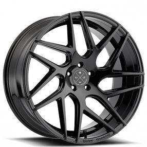"19"" Staggered Blaque Diamond Wheels BD-3 Gloss Black Rims"