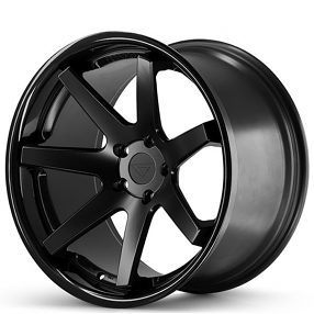 "20"" Staggered Ferrada Wheels FR1 Matte Black with Gloss Black Lip Rims"