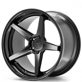 "20"" Staggered Ferrada Wheels FR3 Matte Black with Gloss Black Lip Rims"