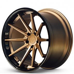 "20"" Staggered Ferrada Wheels FR4 Matte Bronze with Gloss Black Lip Rims"