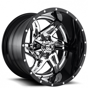 "22"" Fuel Wheels D272 Rocker Chrome with Gloss Black Lip Two Piece Off-Road Rims"