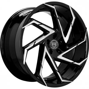 "26"" Lexani Wheels Cyclone Gloss Black Machined Rims"