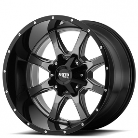 "18"" Moto Metal Wheels MO970 Gray with Black Lip Off-Road Rims"