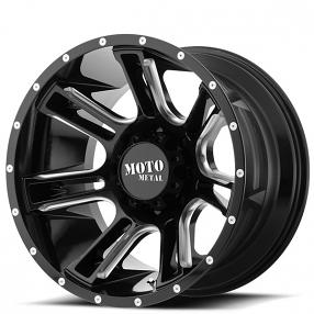 "17"" Moto Metal Wheels MO982 Amp Gloss Black Milled Off-Road Rims"