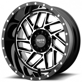 "16"" Moto Metal Wheels MO985 Breakout Gloss Black Machined Off-Road Rims"