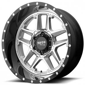 "22"" Moto Metal Wheels MO987 Sentry Gloss Silver Center with Gloss Black Lip Off-Road Rims"