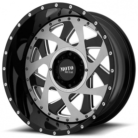 """20"""" Moto Metal Wheels MO989 Change Up Gloss Black Milled with Brushed Inserts Off-Road Rims"""
