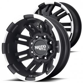 "16"" Moto Metal Wheels MO963 Dually Black Machined Off-Road Rims"