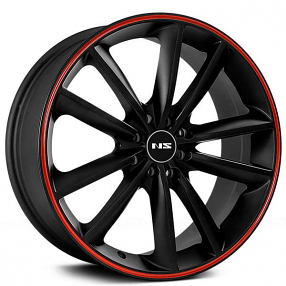 """17"""" NS Wheels Tunner NS9012 Matte Black with Red Stripe Rims"""