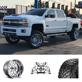 """2019 Chevrolet Silverado 2500 HD 22X12"""" Wheels+Tires+Suspension Package Deal"""