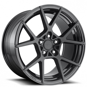 """19"""" Staggered Rotiform Wheels R139 KPS Matte Black Face with Gloss Black Window Rims"""