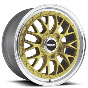"""19"""" Staggered Rotiform Wheels R156 LSR Gold with Machined Lip Rims"""