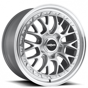 """18"""" Rotiform Wheels R155 LSR Silver with Machined Lip Rims"""