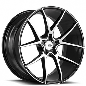 "22"" Staggered Savini Wheels Black Di Forza BM14 Machined Black Light Weight Rims"
