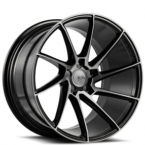 "20"" Staggered Savini Wheels Black Di Forza BM15 Gloss Black with DDT Super Concave Rims"