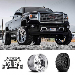 "2015 GMC Sierra 1500 Denali 24x14"" Wheels+Tires+Suspension Package Deal"