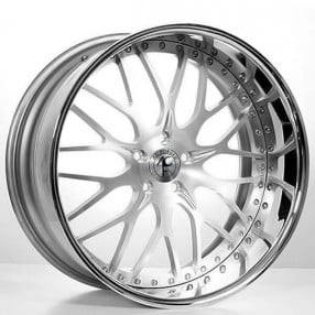 "20"" AC Forged Wheels AC313 Brushed Face with Chrome Lip Three Piece Rims"