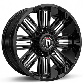 """20"""" American Truxx Wheels AT-152 Stacks Black with Chrome Inserts Off-Road Rims"""
